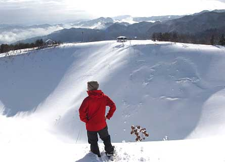 Guided snowshoe hike up Kannabe Volcano winter