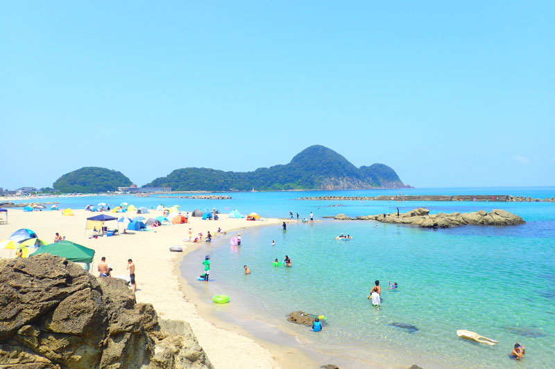Swimming at Takeno beach