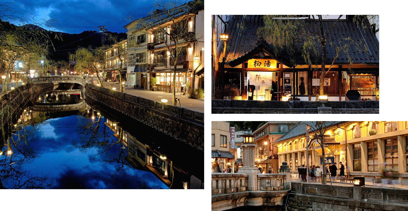 Three photos. One overlooking the willow-lined Kinosaki river, one of the front of Yanagi-yu onsen, and one of the hustle and bustle of the streets of Kinosaki outside Ichinoyu Onsen. All three photos are nighttime shots
