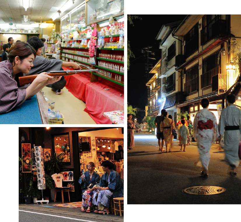 Three photos: a woman target shooting at a nostalgic Showa-era arcade, A couple sitting on a bench in Yukata drinking Ramune, and a nightime shot of droves of people strolling the Kinosaki Onsen streets in their Yukata