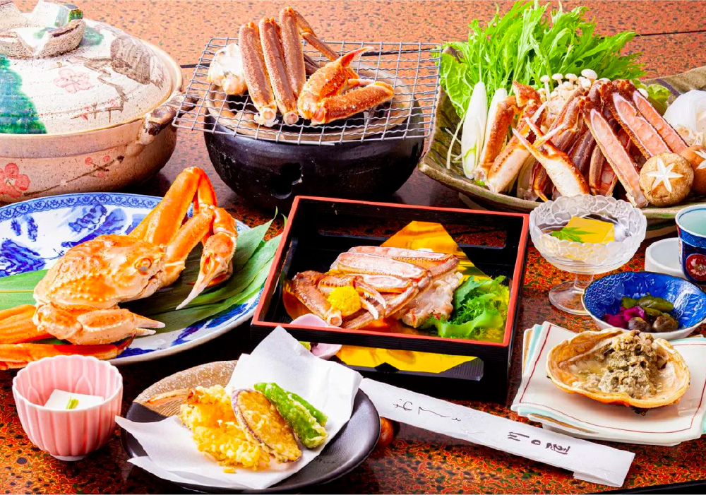 A traditional kaiseki (set course) crab dinner